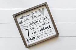 Personalized Birth Stat Wood Sign Nursery Wood Sign - Homeworks Etc ®