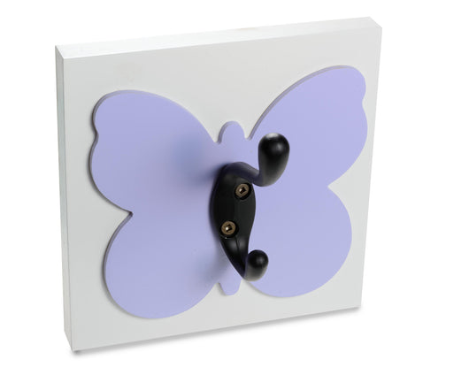 Purple butterfly wall hook.  Organize with decor for girls room or nursery.