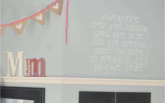 Somewhere over the rainbow wall decal quote, baby nursery wall decor.