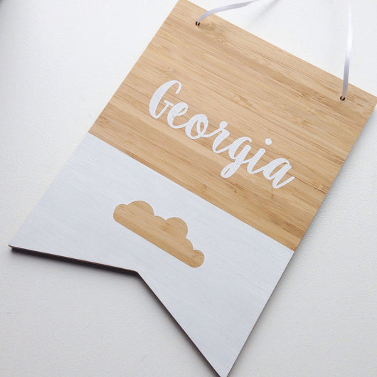 Bamboo name plaque personalized by Homeworks Etc