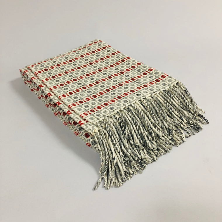 Vintage Wool Blanket - Red, Gray, Fume