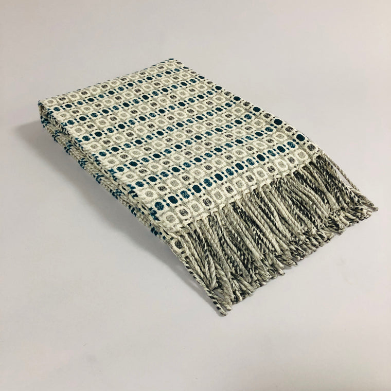Vintage Wool Blanket - Gray/Teal or Blue/Gold