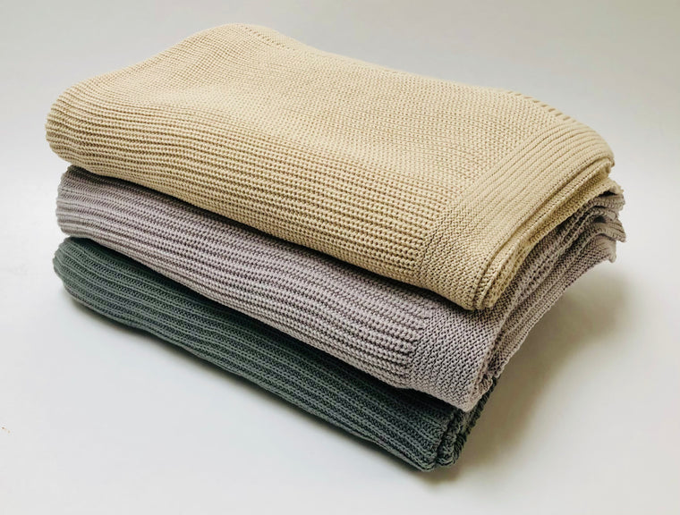 Knit Cotton Throw Blanket - Wheat, Gray, Pewter Gray