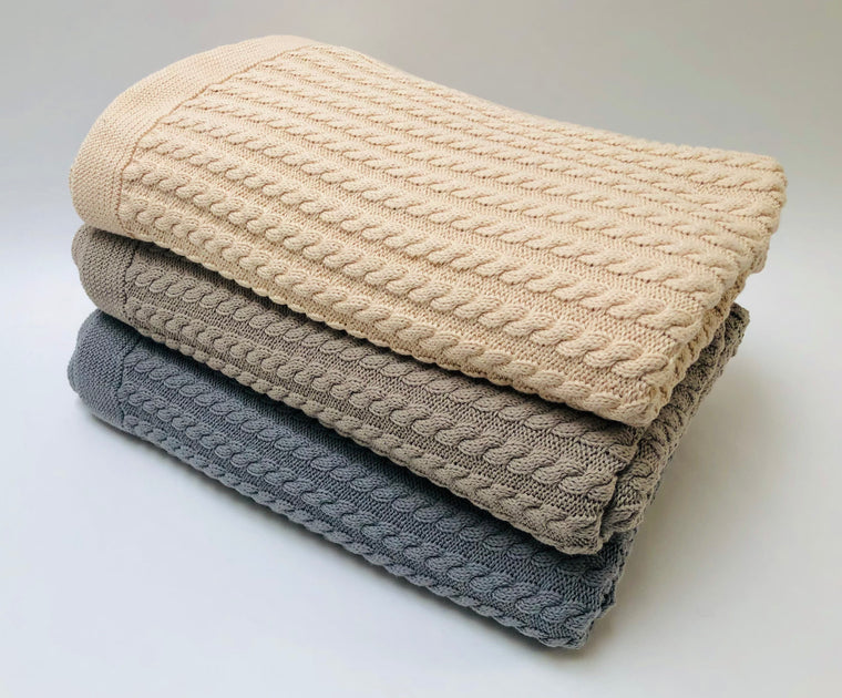 Small Cable Cotton Throw Blanket - Beige, Gray, Pewter