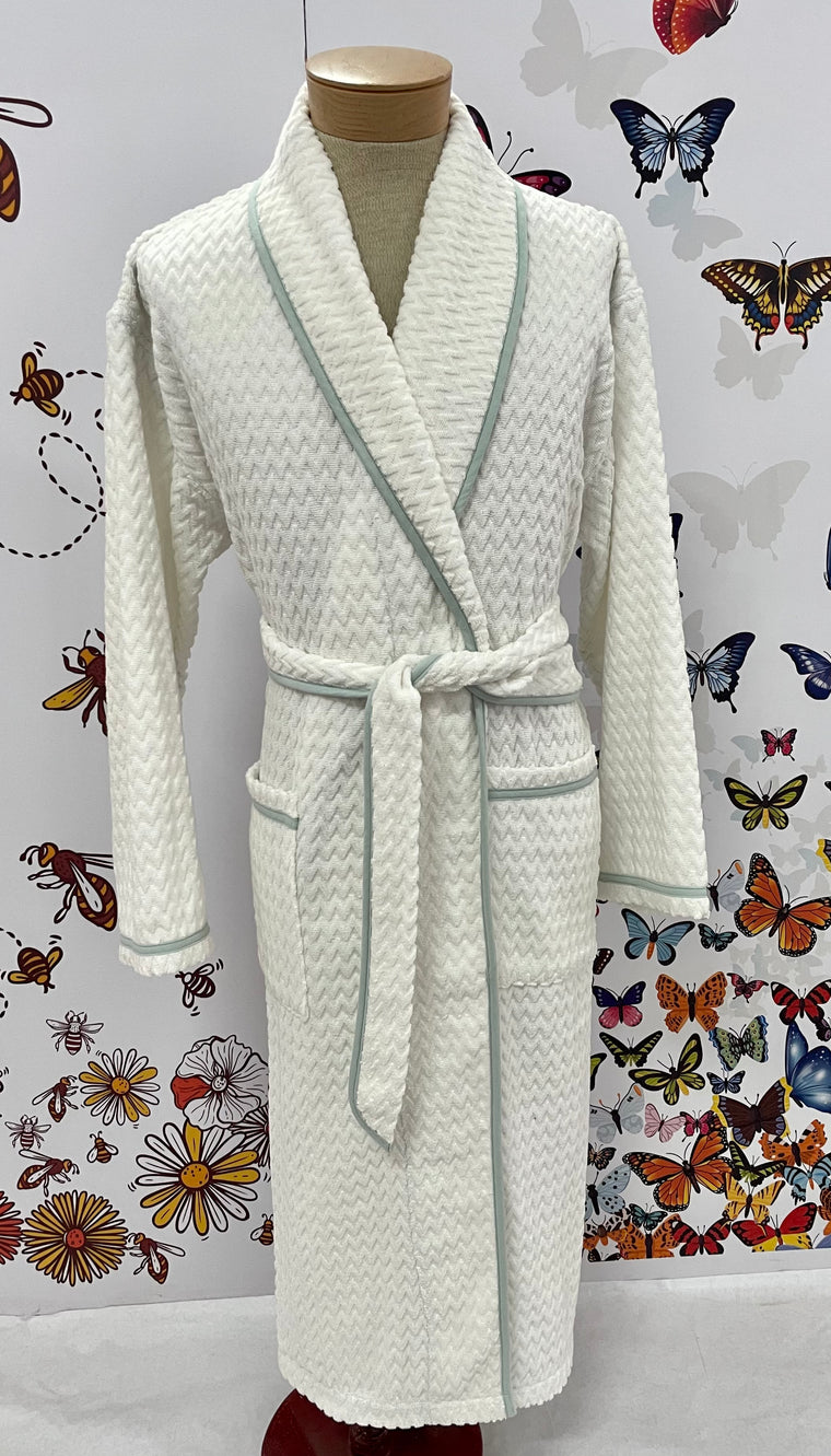 Chevron Shawl Collar Bathrobe - Ivory w/Celadon trim