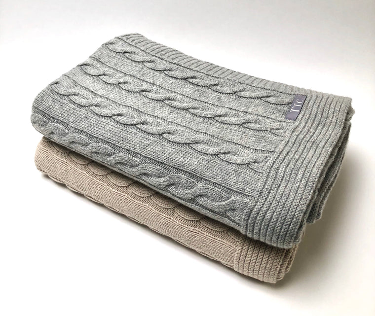 Cable Throw Blanket - Gray or Stone