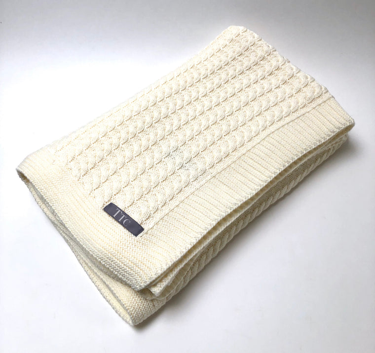 Small Cable Cotton Throw Blanket