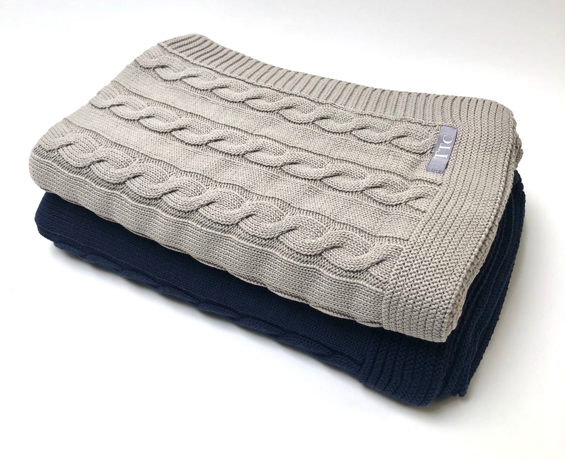 Cable Cotton Throw Blanket - Blue or Taupe