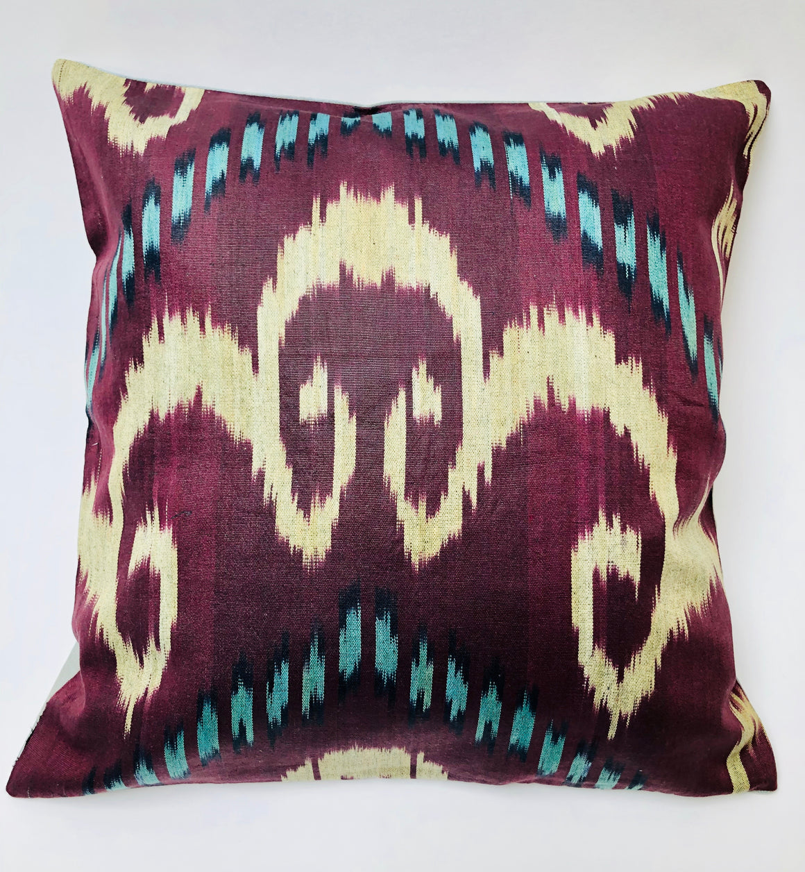 Embroidered Silk & Ikat Pillow - Pale Blue