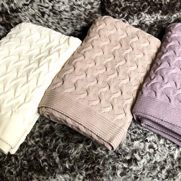 Basket Weave Cotton Throw Blanket - Ivory, Coco, Lavender