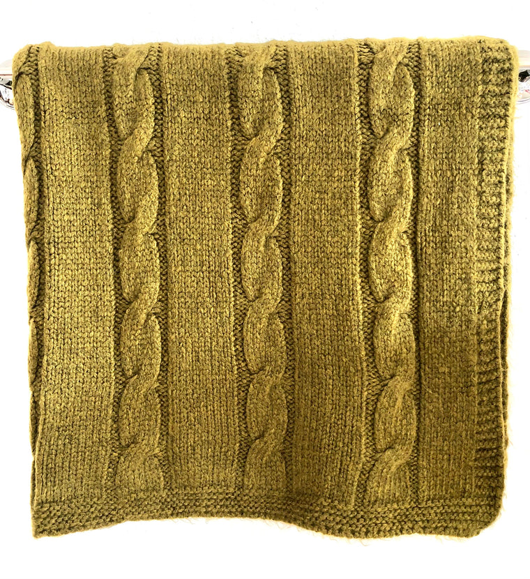 Cable Throw - Olive Green, Gray, Ivory