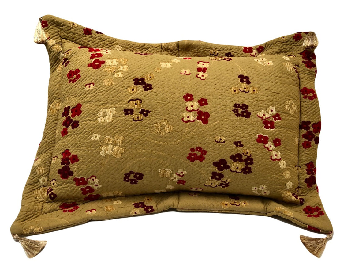 Golden Burgundy cherry blossom pillow case