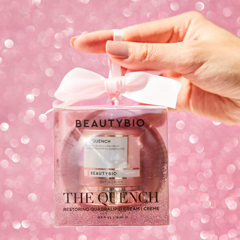 The Quench Quadralipid Rapid Recovery Cream & Limited Edition Rose Gold Glitter Ornament Skincare BeautyBio