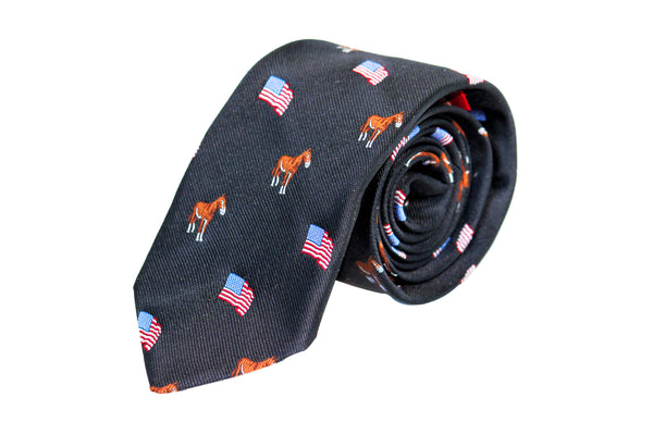 Black with Horse and American Flag