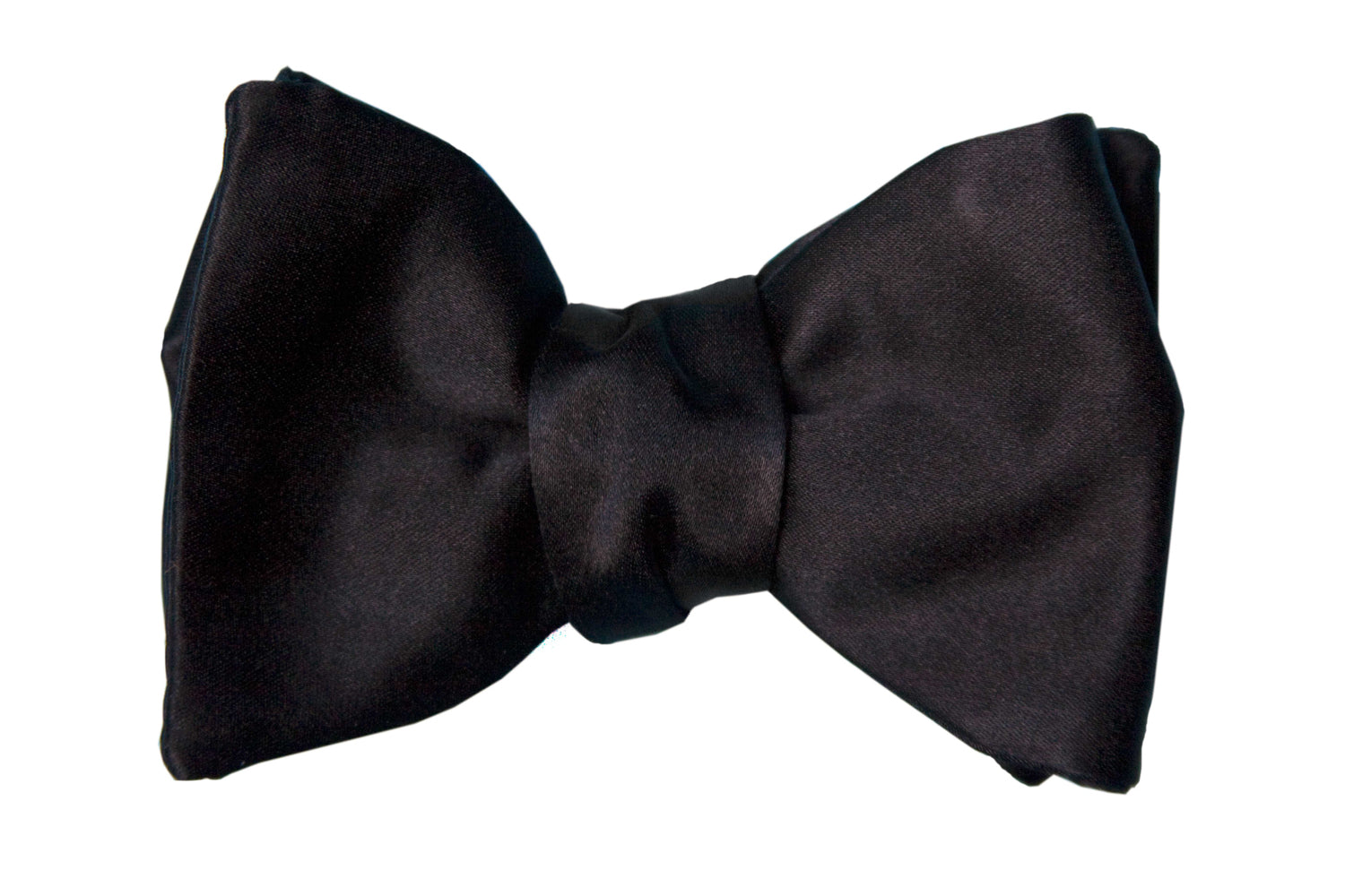 Black Heavy Solid Satin Bow Tie