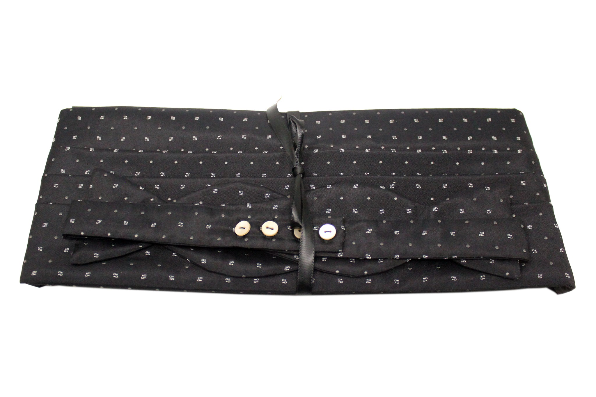 Black Satin with Geometric Shapes and Dots