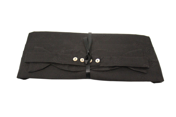 Black Satin with Playing Cards Cummerbund Set