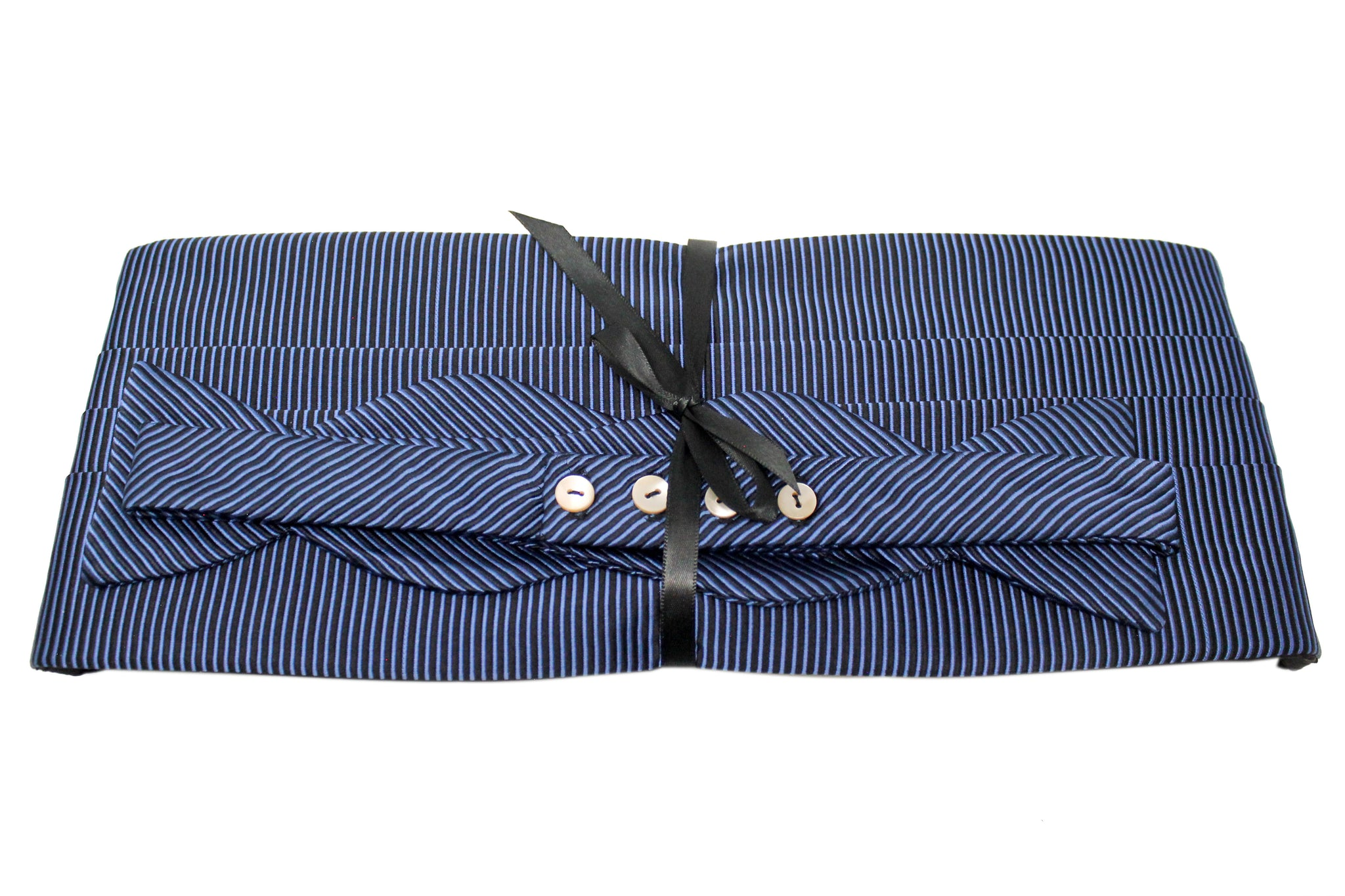 Black with Light Blue Stripes Cummerbund Set