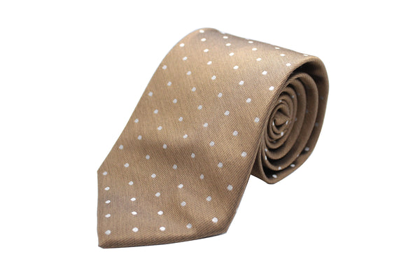 Brown with White Dots Neck Tie