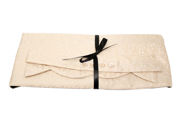 Cream Satin Floral Cummerbund Set