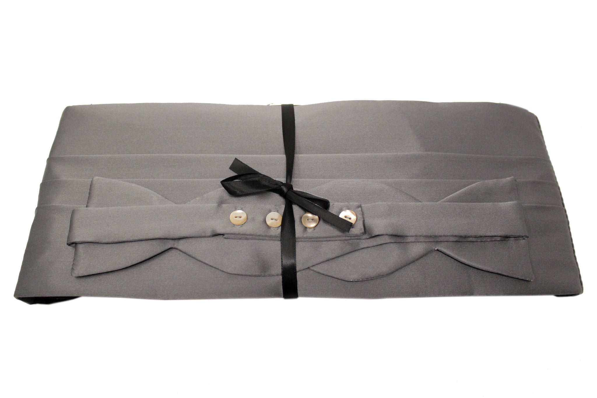 Grey Satin Cummerbund Set