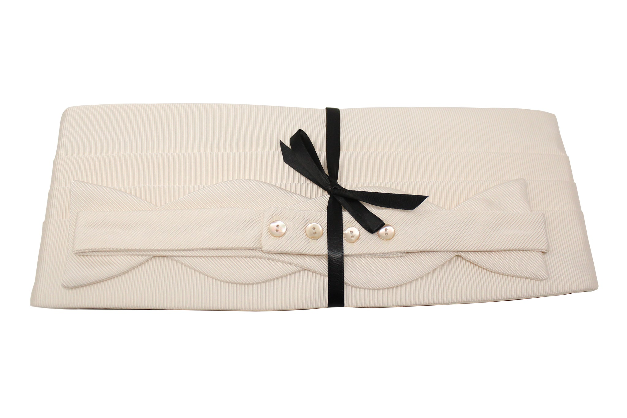 Ivory File Cummerbund Set