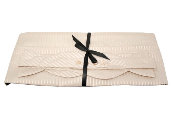 Ivory Satin Stripes Cummerbund Set