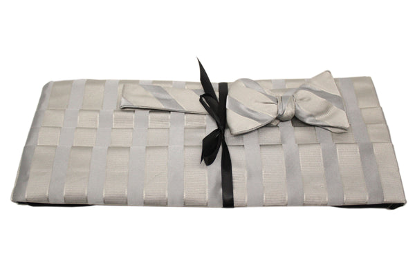 Ivory with Silver Stripes Cummerbund Set