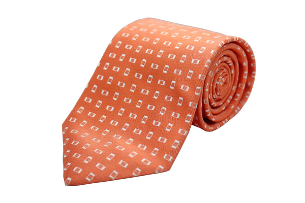 Orange Geometric Neck Tie