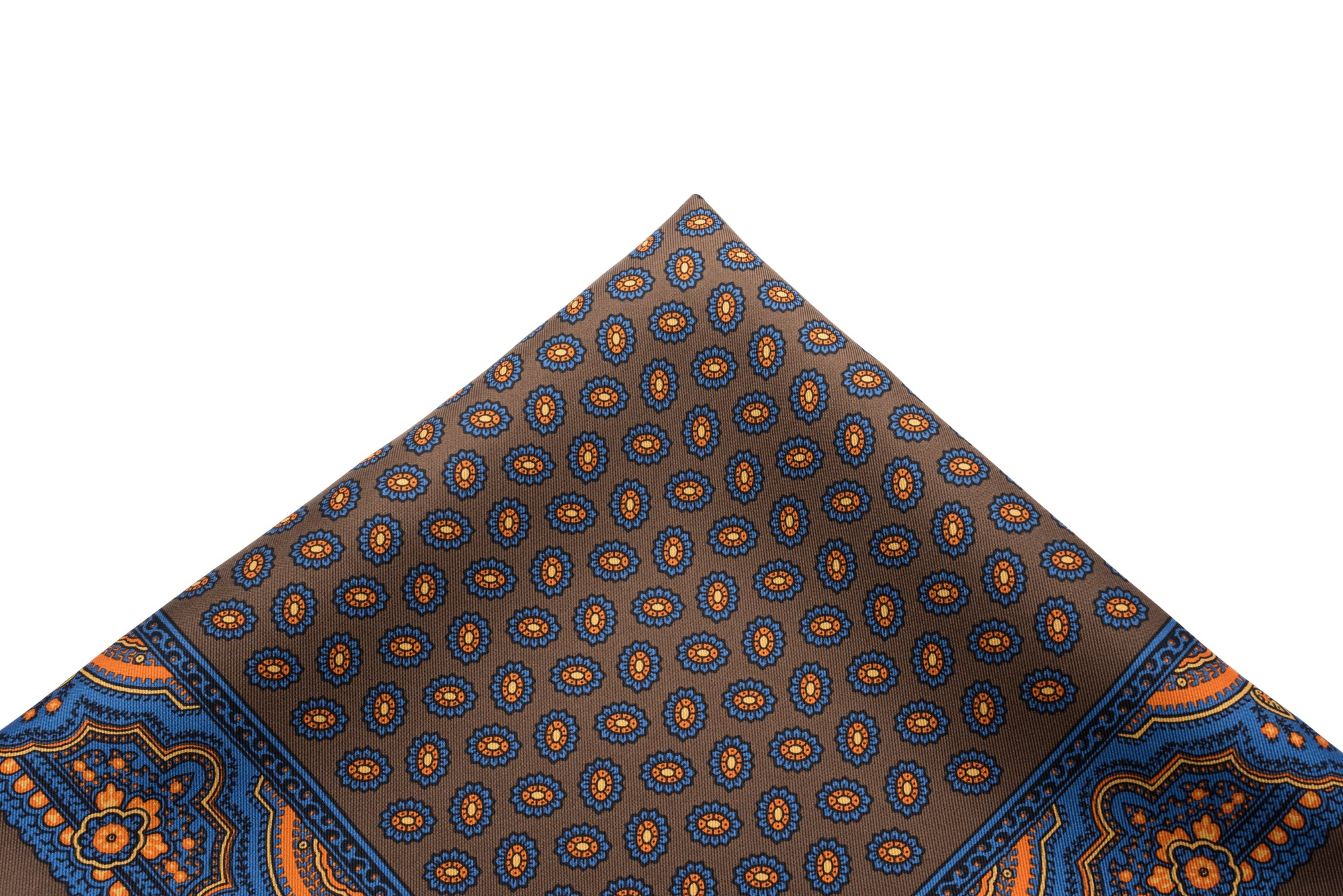 Pocket Square Blue on Brown