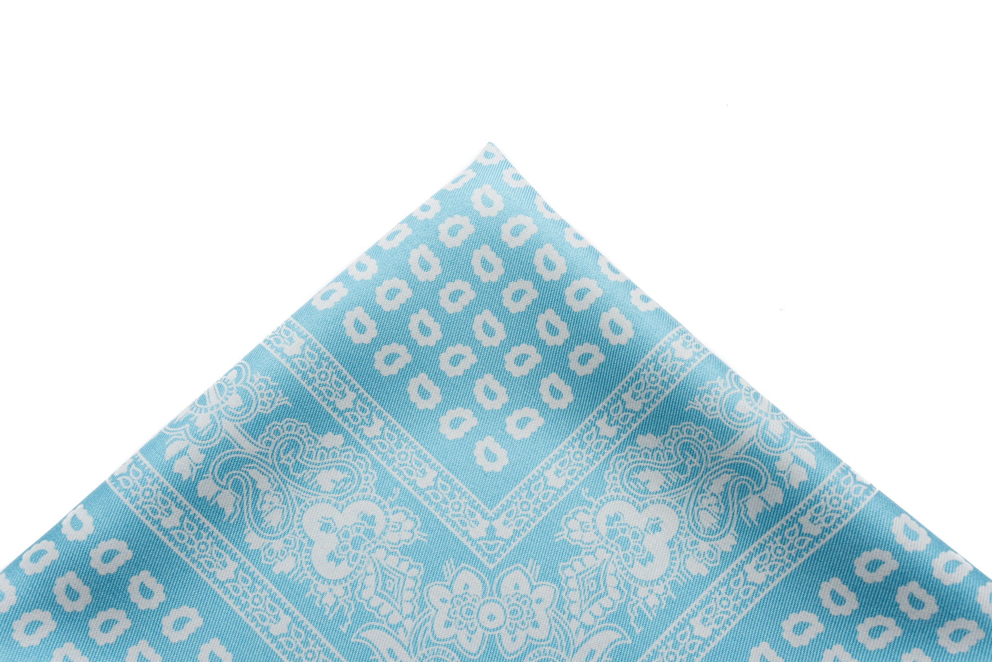 Pocket Square Baby Blue - White Paisley