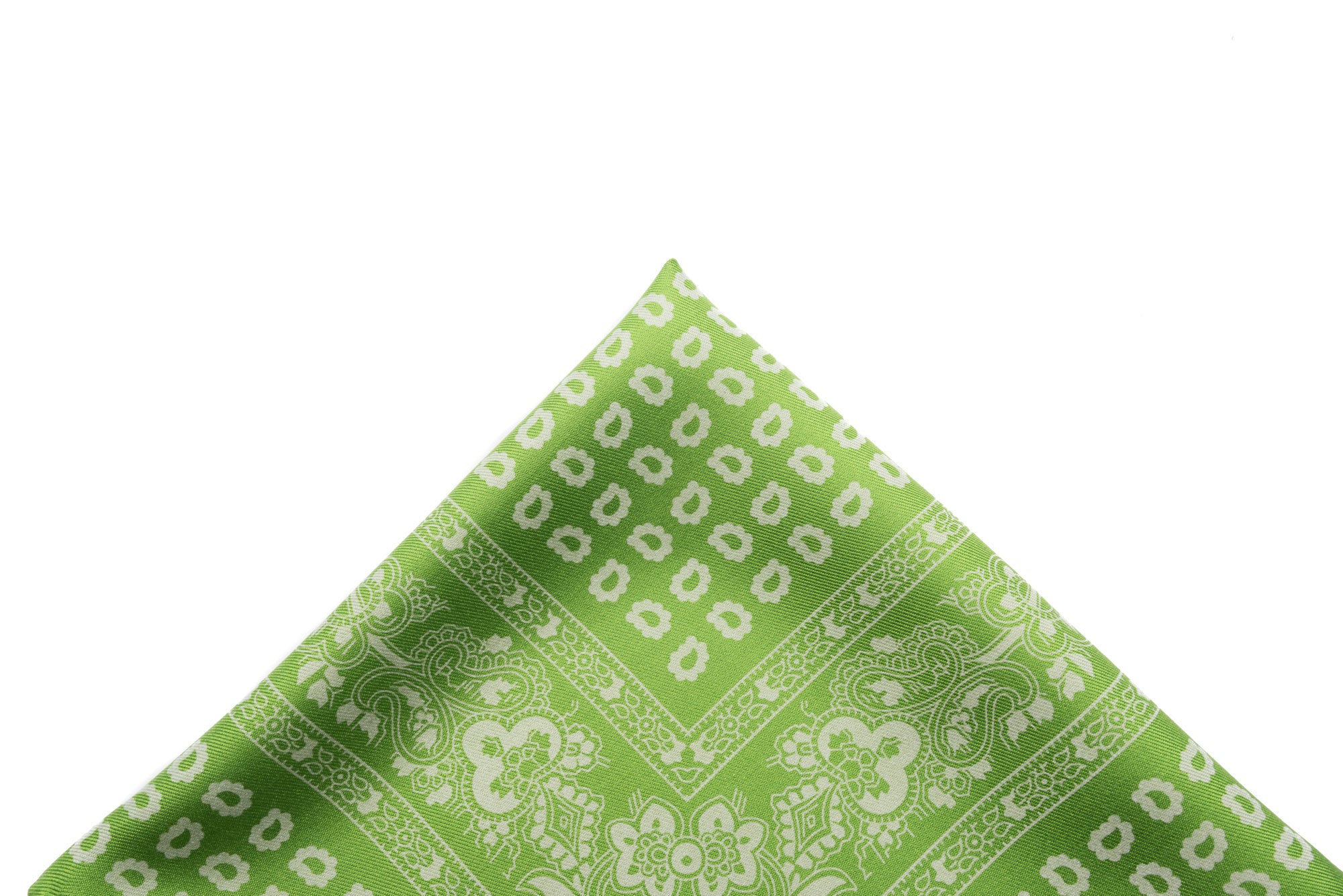 Pocket Square Green/White Paisley
