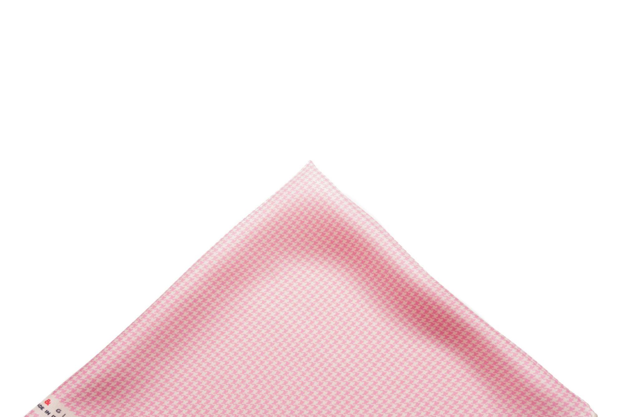 Pocket Square Cream/Pink Micro Houndstooth