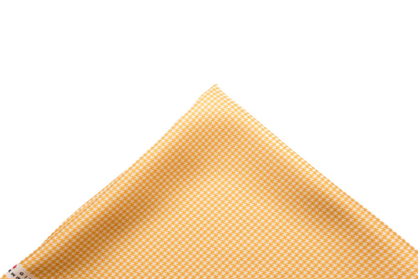 Pocket Square Deep Yellow - Cream Micro Houndstooth