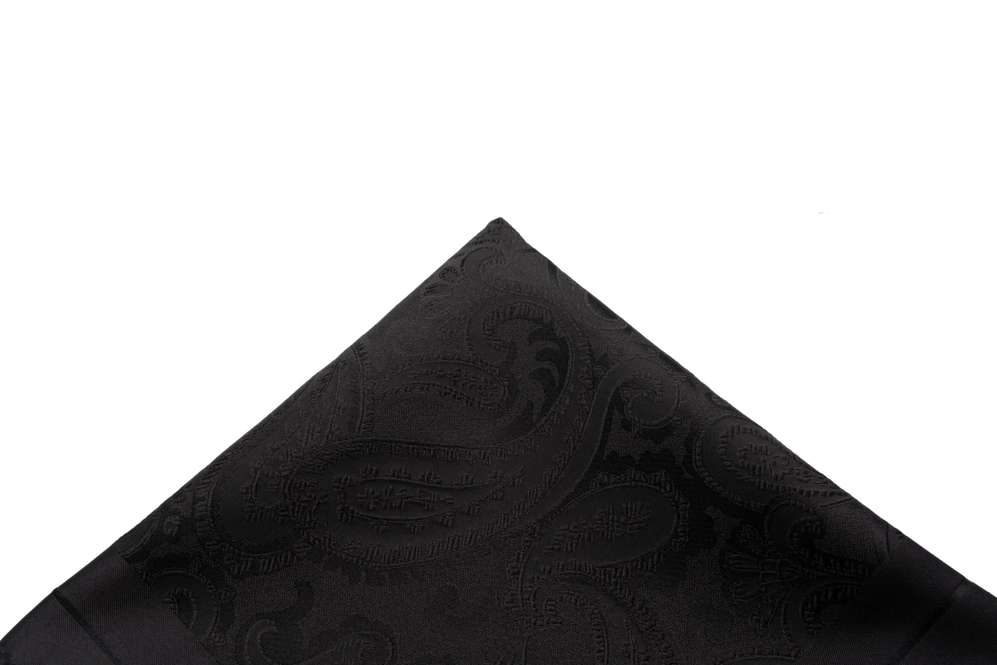 Pocket Square Black Tonal Paisley