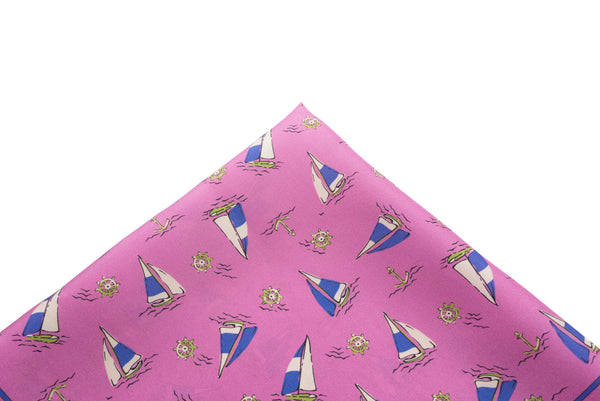 Pocket Square Pink Sailboats