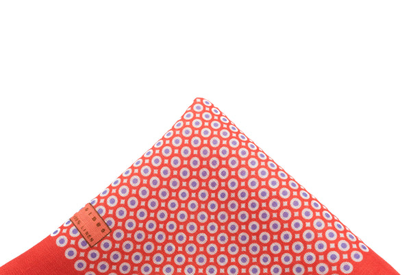 Pocket Square Red - Purple Dot