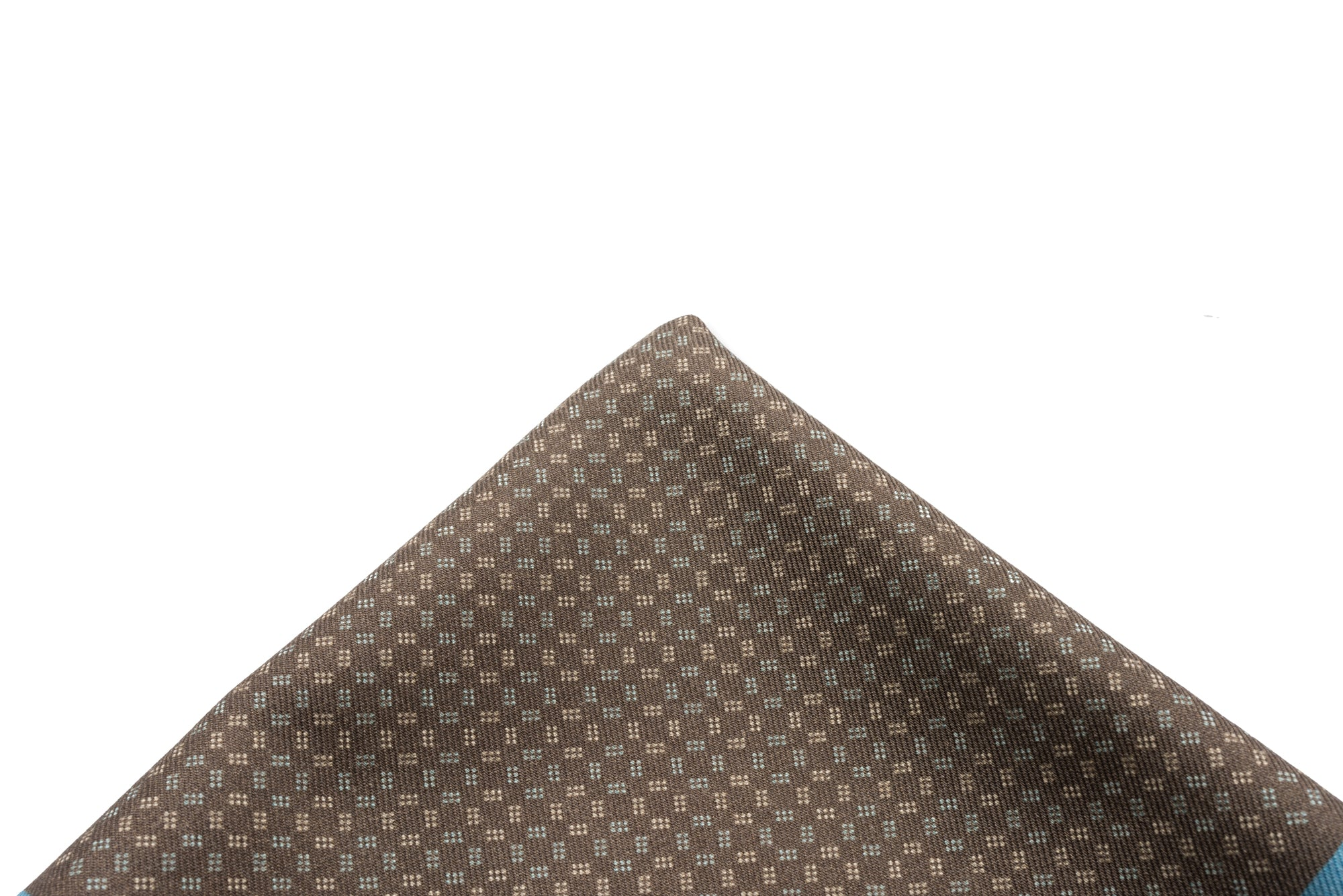 Pocket Square Brown - Teal Border