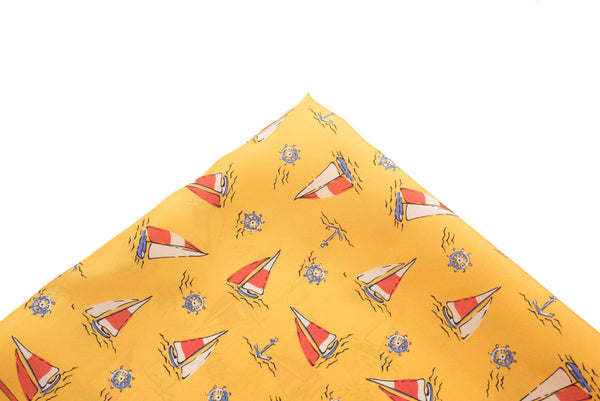 Pocket Square Yellow Sailboats