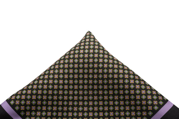 Pocket Square Black/Lavender Border