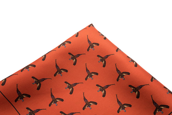 Pocket Square Orange Pheasants
