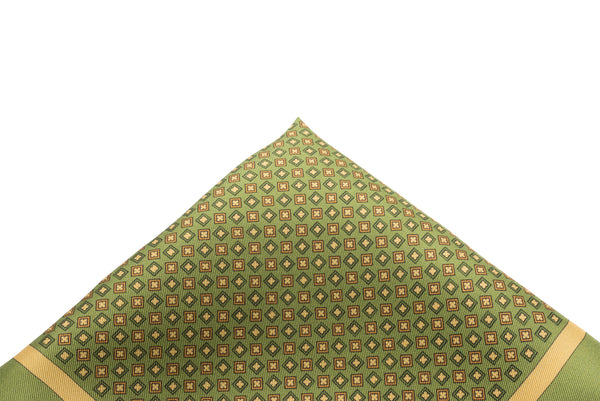 Pocket Square Green Geometric Neat