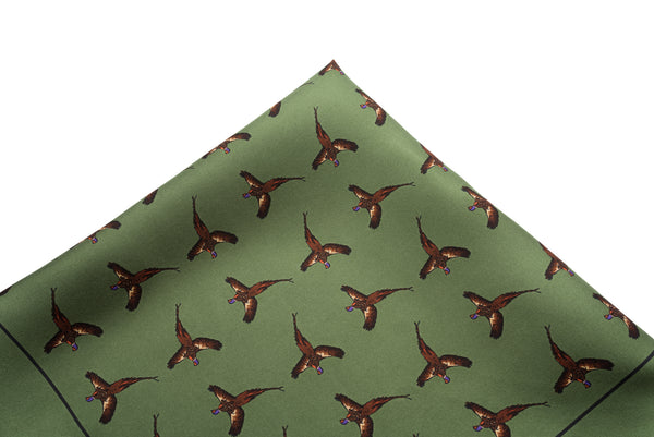 Pocket Square Green Pheasants