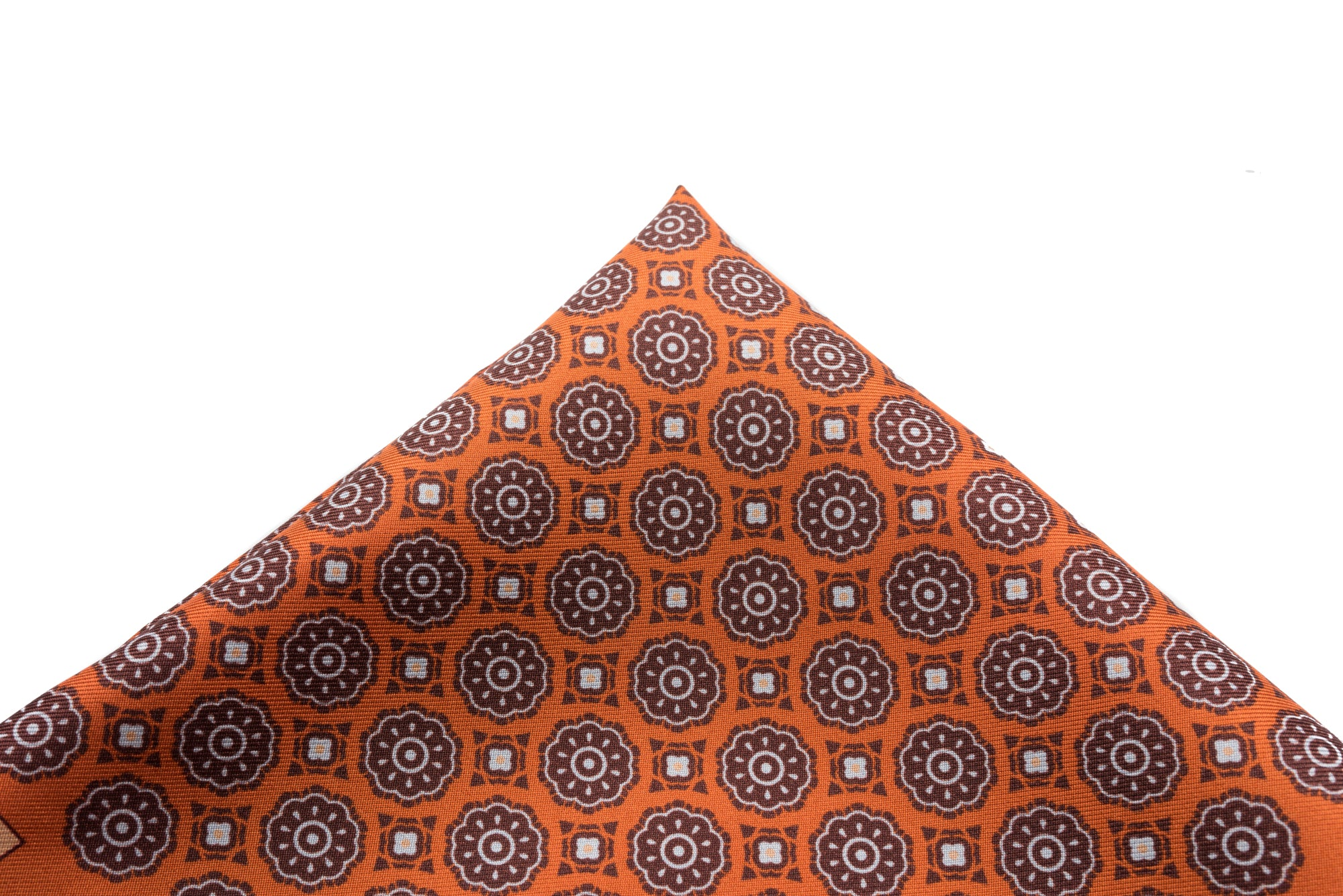 Pocket Square Orange - Brown Medallion