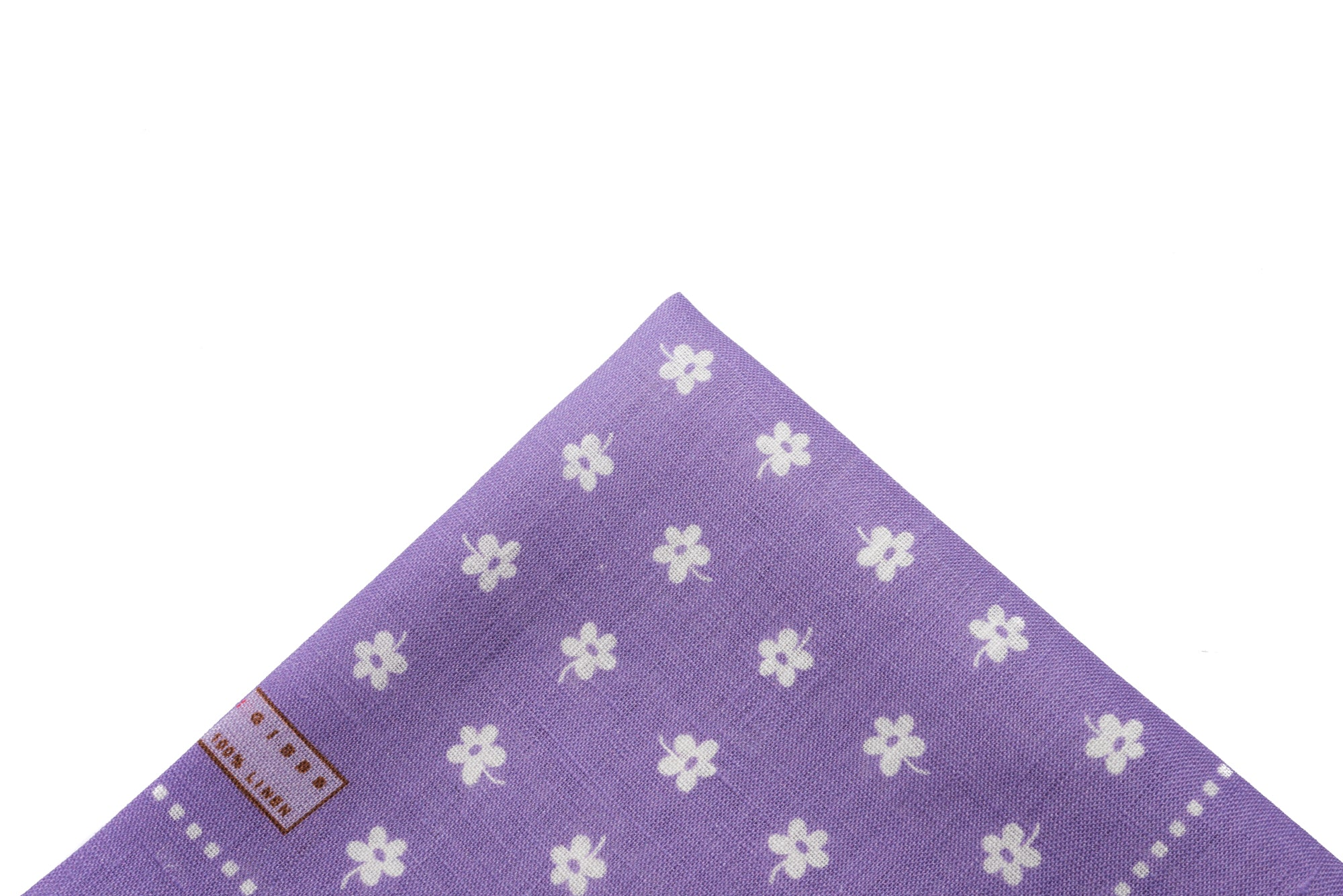 Pocket Square Purple - White Flower