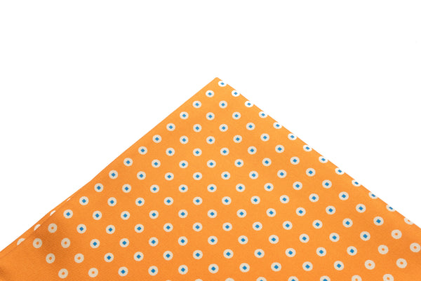 Pocket Square Orange - Teal Dots