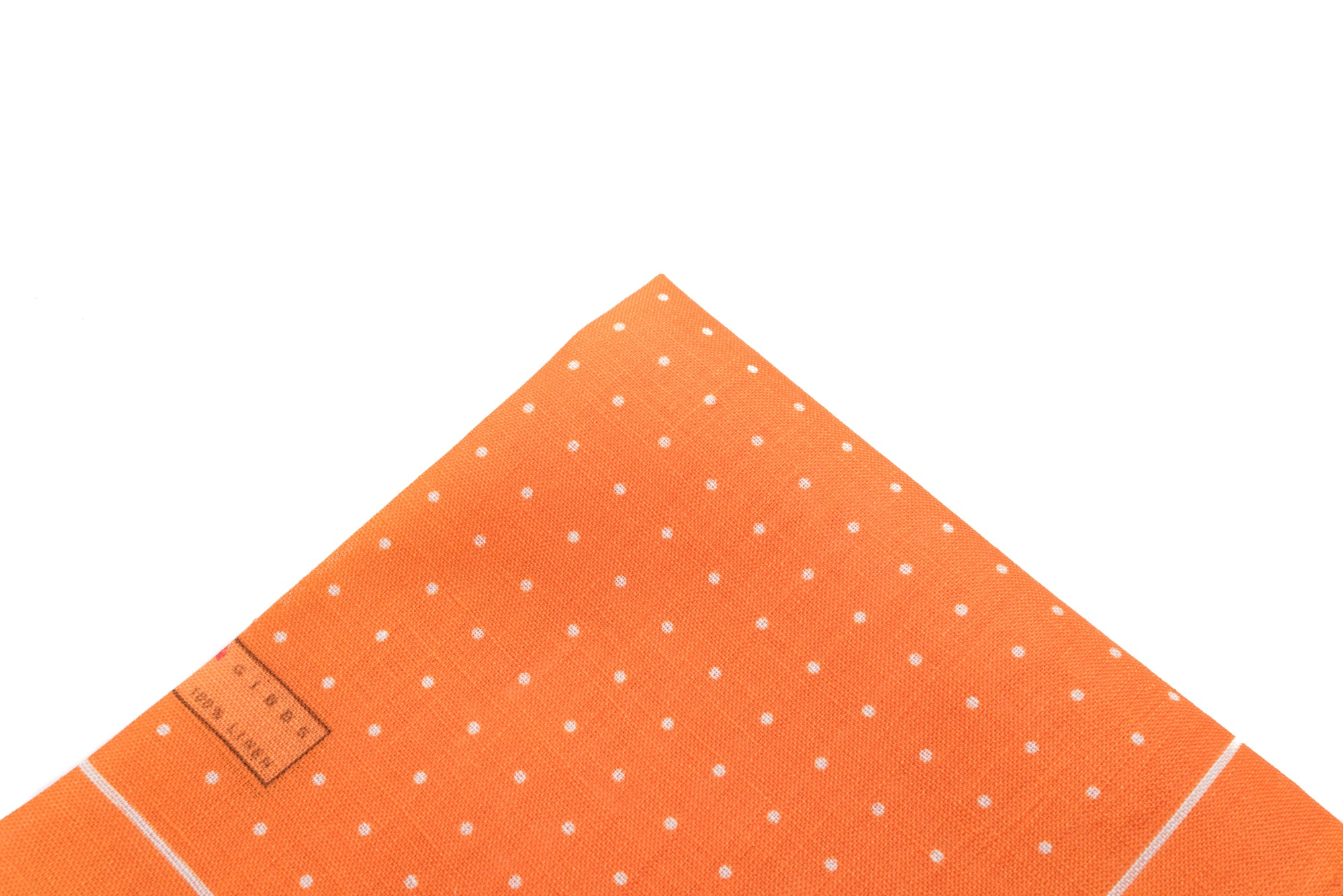 Pocket Square Orange Linen Dot