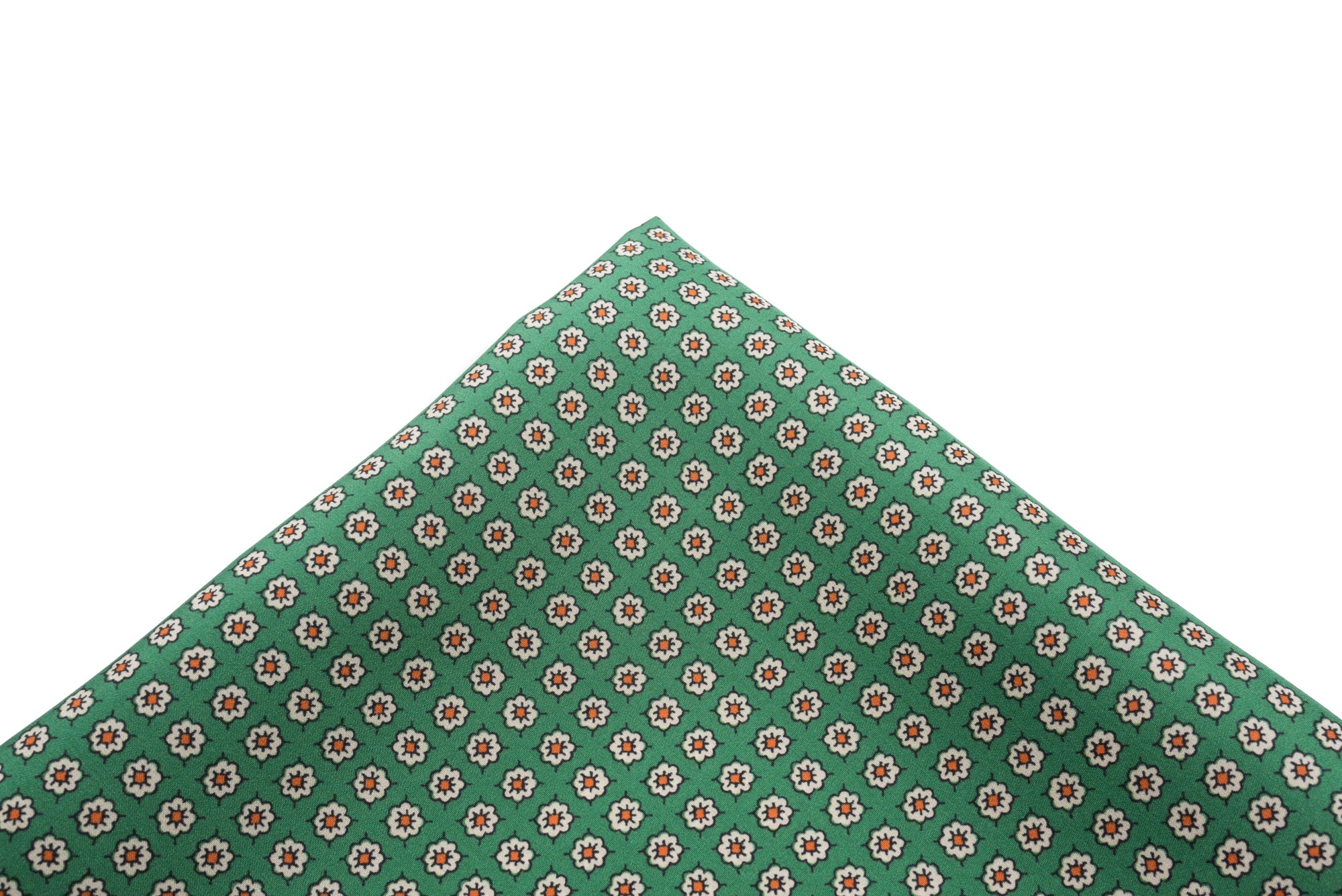 Pocket Square Green - Small Floral Neat