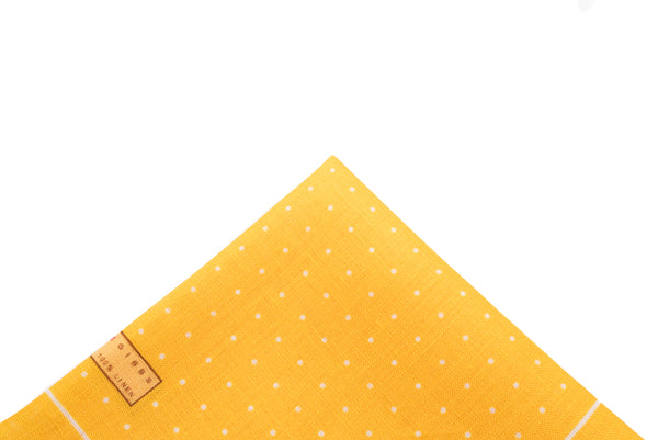 Pocket Square Yellow Linen Dot