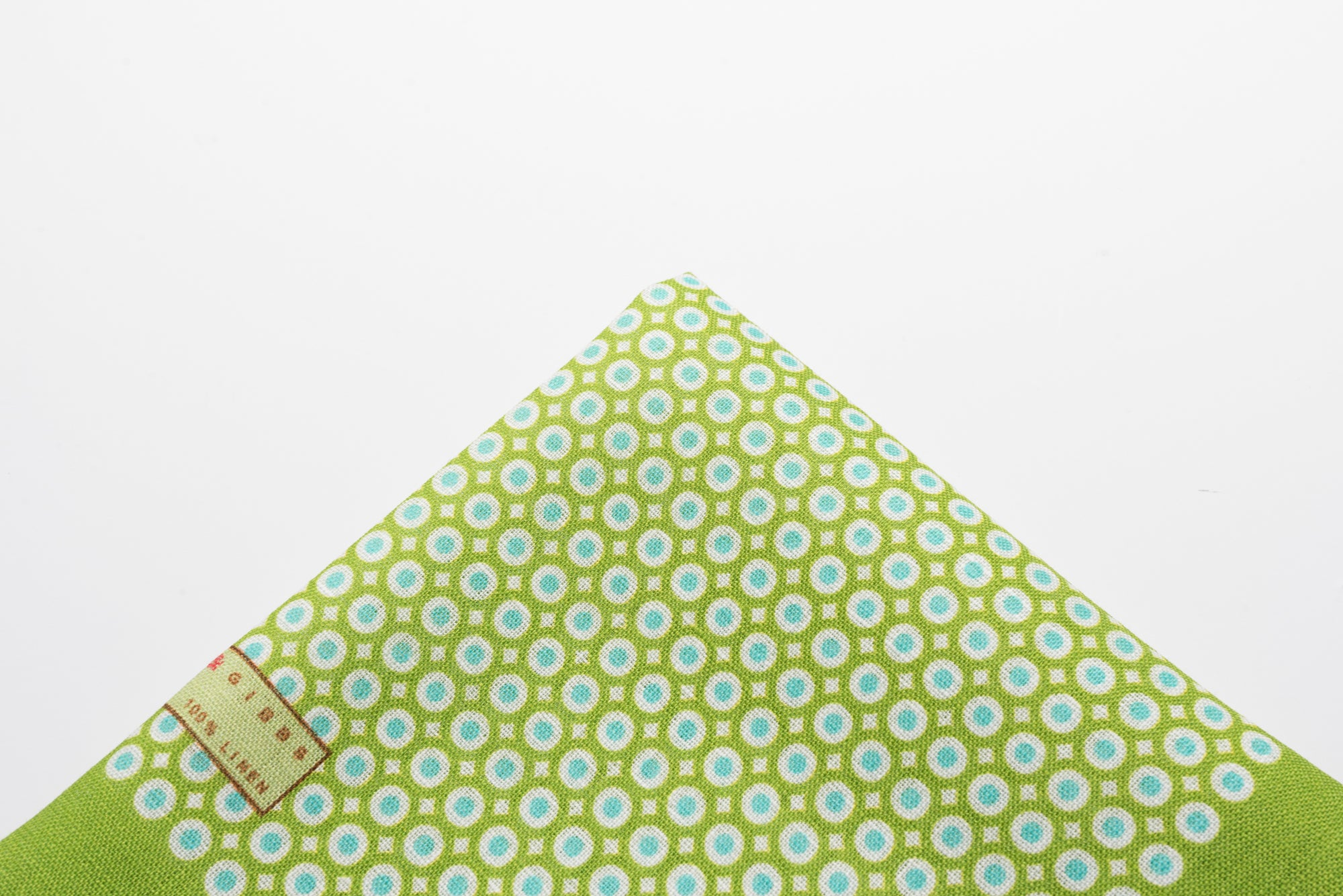 Pocket Square Green Linen Dot
